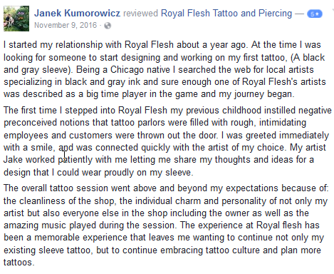 review from facebook for Royal Flesh Tattoo Artist Jake F.