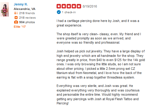 Rave Review from Yelp for Josh! Read it now...